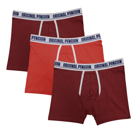 Original Penguin Men's 3 Pack Maroon, Orange, Maroon Boxer Brief