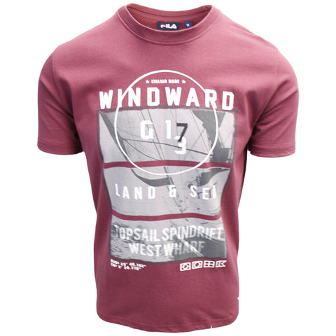 FILA Men's Maroon Windward Land & Sea S/S Tee (S17)