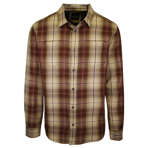 prAna Men's Red Brown Gold Cream Plaid L/S Woven Shirt (S56)