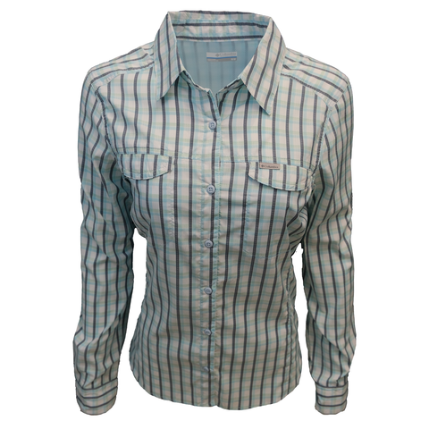 Columbia Women's Silver Ridge Lite Blue Gingham Plaid L/S Shirt 490
