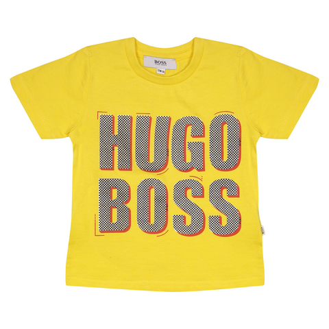 Hugo Boss Kid's Yellow Dotted Text S/S T-Shirt (S13) 12 Months