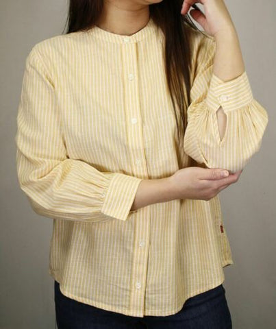 Levi's Women's Yellow Striped Band Collar L/S Woven Shirt