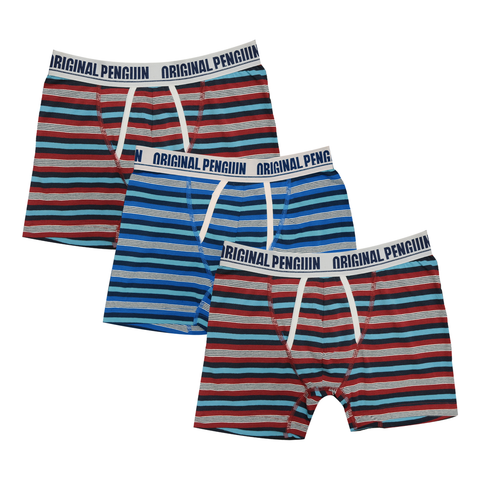 Original Penguin Men's 3 Pack Red/Turquoise Blue/Turquoise Striped Boxer Brief