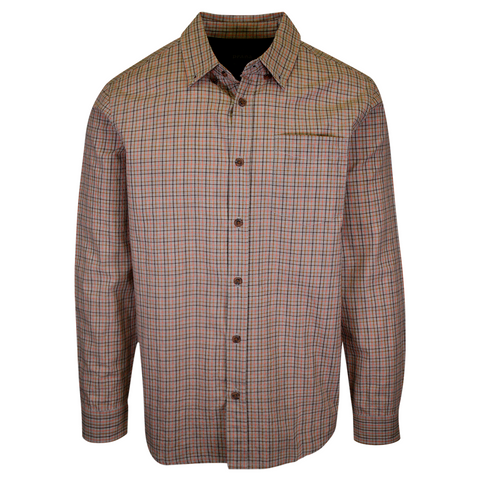 prAna Men's Salmon Grey Mini Plaid L/S Woven Shirt (S71)