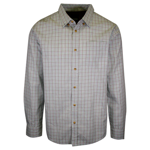 prAna Men's Aqua Blue Grey Mini Plaid L/S Woven Shirt (S73)