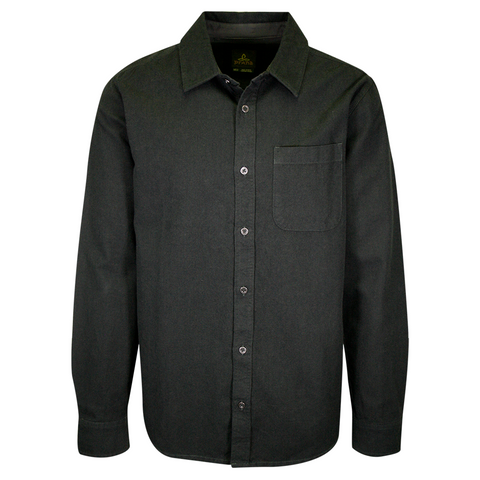 prAna Men's Dark Green Essential Solid L/S Flannel Shirt (S75)
