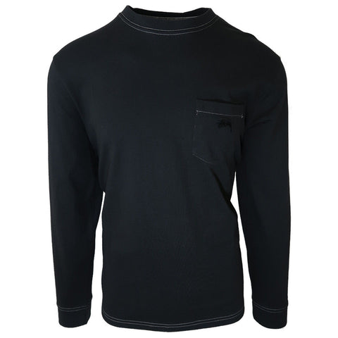 Stussy Mens Black O'Dyed Long-Sleeve Pocket Tee (Retail $65)
