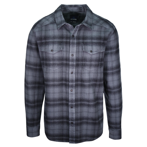 prAna Men's Turquoise & Black Plaid L/S Flannel Shirt (S44)