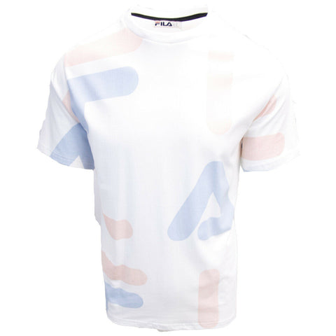 FILA Men's White Pink Light Blue Letters S/S T-Shirt (S02G)