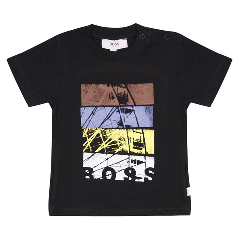 Hugo Boss Kid's Black Bicycle Wheel Art S/S T-Shirt (S07)