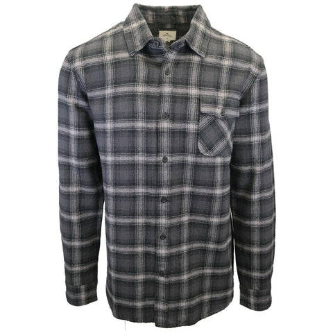 Rip Curl Men's Black Charcoal Grey Plaid L/S Flannel Shirt (S05)