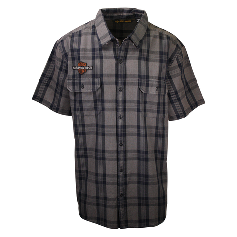 Harley-Davidson Men's Grey Navy Plaid S/S Woven Shirt