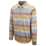 prAna Men's Golden Brown Blue Salmon Plaid L/S Woven Shirt (S26)
