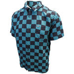 OBEY Men's Black & Green Checkered S/S Woven S06