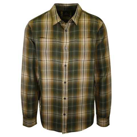 prAna Men's Green Gold Cream Plaid L/S Woven Shirt (S53)
