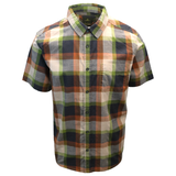 prAna Men's Charcoal Green Orange Box Plaid Benton S/S Woven Shirt S05