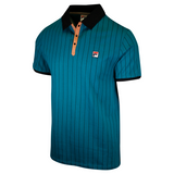 FILA Men's Teal Brown Striped Snap On F-Box S/S Polo T-Shirt (S37)