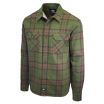 Dickies Men's Dark Green & Brown Plaid Brownsburg L/S Flannel Shirt (S07)