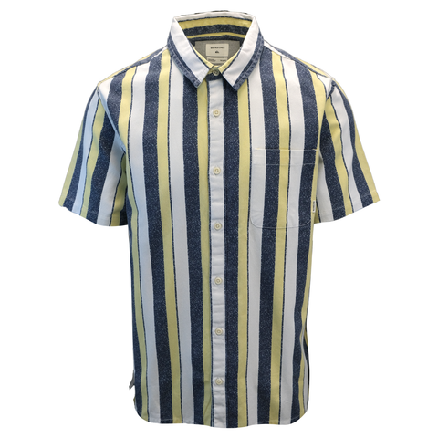 Quik Silver Men's 50 Years Of Adventure Striped S/S Woven Shirt