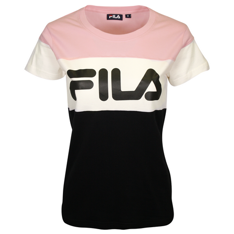 FILA Women's Cream & Pink Three Tone Logo S/S T-Shirt