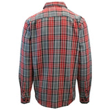OBEY Men's Red Charcoal Plaid L/S Woven Shirt (S09) Medium