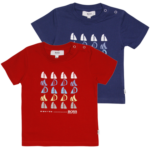 Hugo Boss Kid's Sail Boat Pattern S/S T-Shirt (S01)