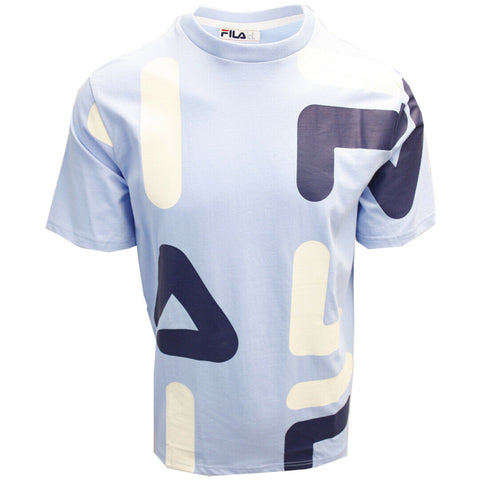 FILA Men's Light Blue Cream Navy Letters S/S T-Shirt (S02F)