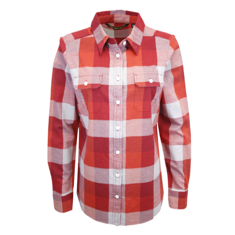 Harley-Davidson Women's 1903 Eagle Red Grey Plaid L/S Woven Shirt (S11)