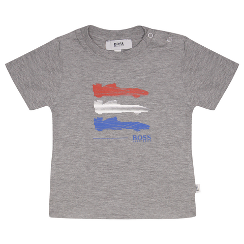 Hugo Boss Kid's Heather Grey Formula One Car S/S T-Shirt (S06)