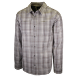 prAna Men's Light Grey Maroon Plaid L/S Woven Shirt (S52)