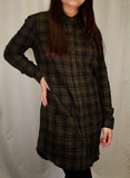 OBEY Women's Olive Green Black Plaid L/S Shirt Dress (S01) Small