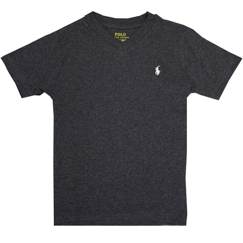 Polo Ralph Lauren Kid's Heather Charcoal Classic V-Neck S/S T-Shirt