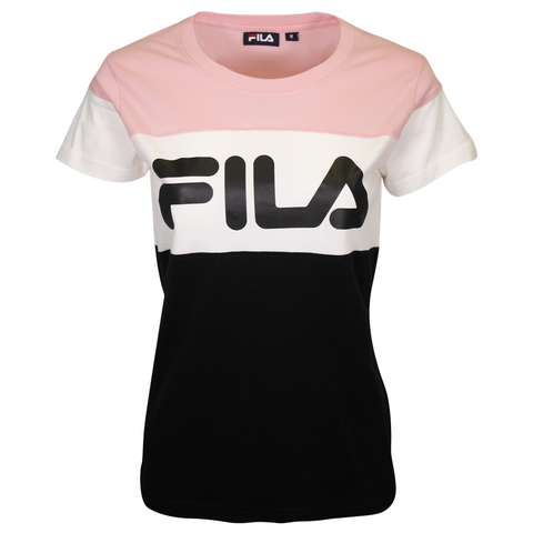FILA Women's White & Pink Three Tone Logo S/S T-Shirt