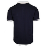 FILA Men's Navy Ribbed Button F-Box S/S Polo T-Shirt (S30)