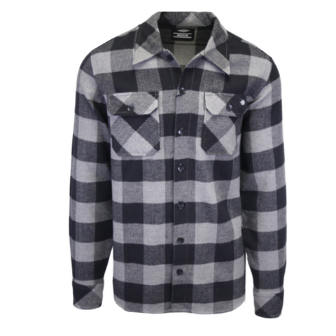Dickies Men's Grey & Black Box Plaid Sacramento L/S Flannel Shirt (S02)