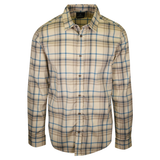prAna Men's Cream Brown Blue Plaid L/S Woven Shirt (S51)