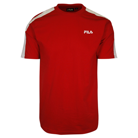FILA Men's Red With Shoulder Pad & Logo S/S T-Shirt (170)