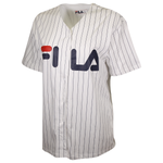 FILA Women's White Striped Button-Down S/S V-Neck T-Shirt (S06)
