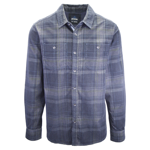 prAna Men's Navy Grey Green Corduroy Plaid L/S Flannel Shirt (S21)