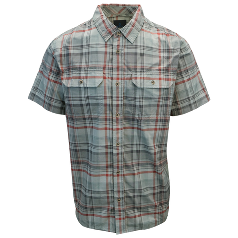 prAna Men's Tower Grey Maroon Plaid S/S Woven Shirt (S19)