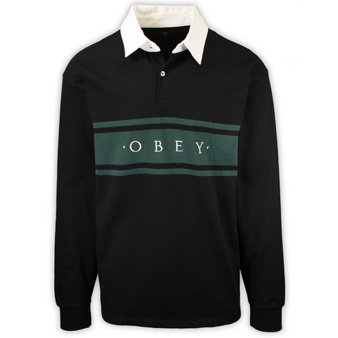 OBEY Men's Black Green Hero Classic Button L/S Polo Shirt (S17)