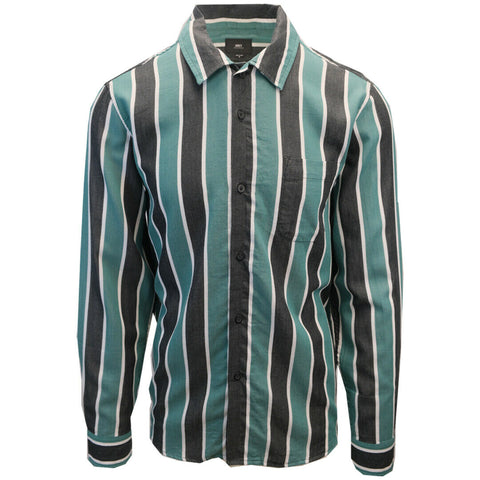 OBEY Men's Black & Green Wicker Stripe Camp L/S Shirt (S16)