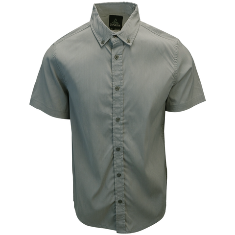 prAna Men's Light Grey S/S Woven Shirt (S11)