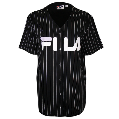 FILA Women's Black Striped Button-Down S/S V-Neck T-Shirt (S08)