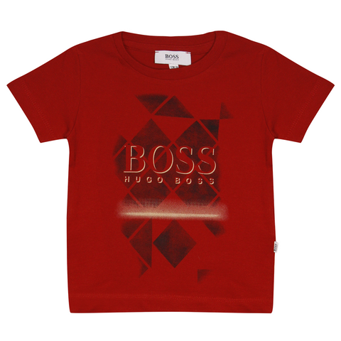 Hugo Boss Kid's Red Geometric Shapes S/S T-Shirt (S08)