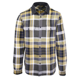 GUESS Men's Grey Yellow Olive Green White Plaid L/S Flannel Shirt