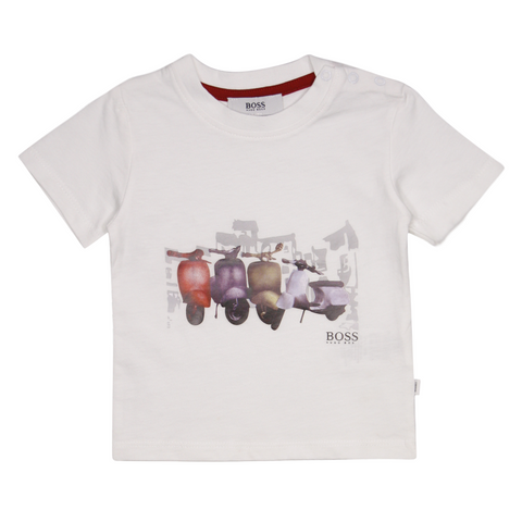 Hugo Boss Kid's White Vespa Motorcycles S/S T-Shirt (S05)