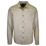 prAna Men's Green Diamond Pattern Striped L/S Woven Shirt (S57)