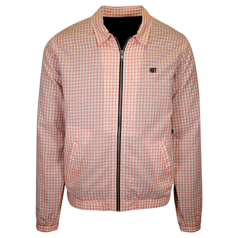 OBEY Men's Salmon White Essential Mini Box Plaid Full-Zip L/S Shirt (Medium)