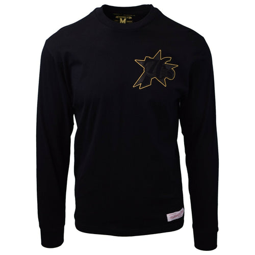 Mitchell & Ness Men's Philadelphia 76ers Black & Gold L/S Crewneck T-Shirt